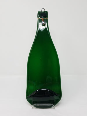 Green bottle w copper beading on neck