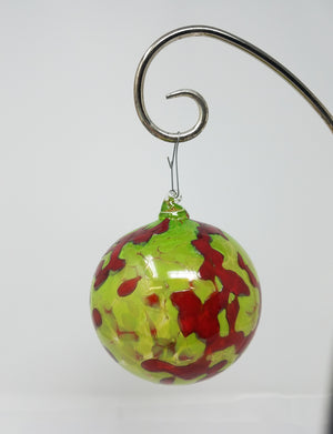 Red and green mottled glass ornament - Chad Balster