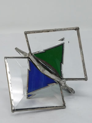 3D Glass geometric ornament, red, blue and green