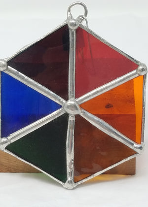 Hexagonal multicolored glass ornament