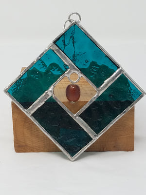 Turquoise and brown beaded square glass ornament
