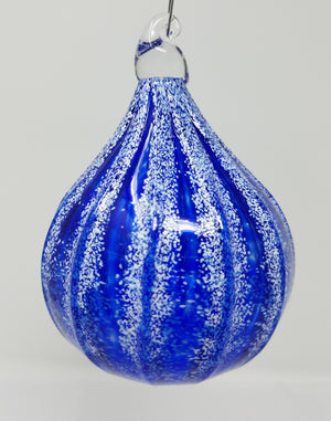 Blue white tear shaped striped glass ornament art