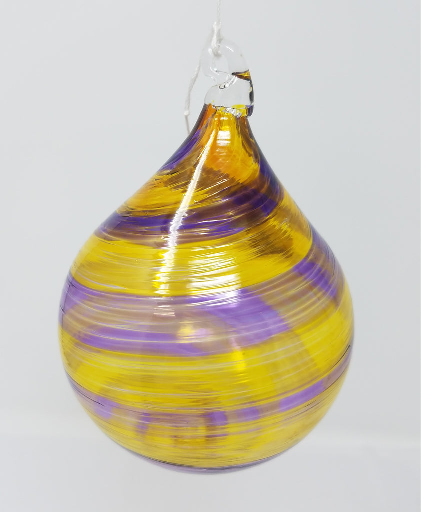 Yellow and purple tear shaped glass ornament