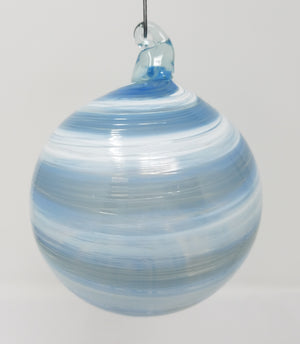Light blue white swirl ornament, round art glass