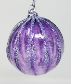 Purple with white ridges round ornament/art glass
