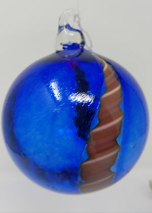 Blue with two reddish stripes ornament/art, glass