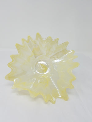 Yellow glass bowl, fluted edges