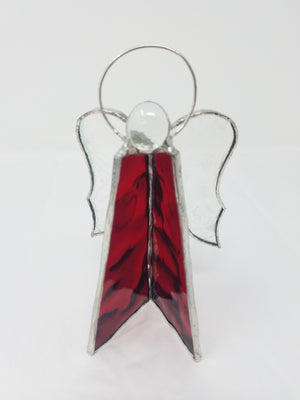 Stained glass free standing angels - RED