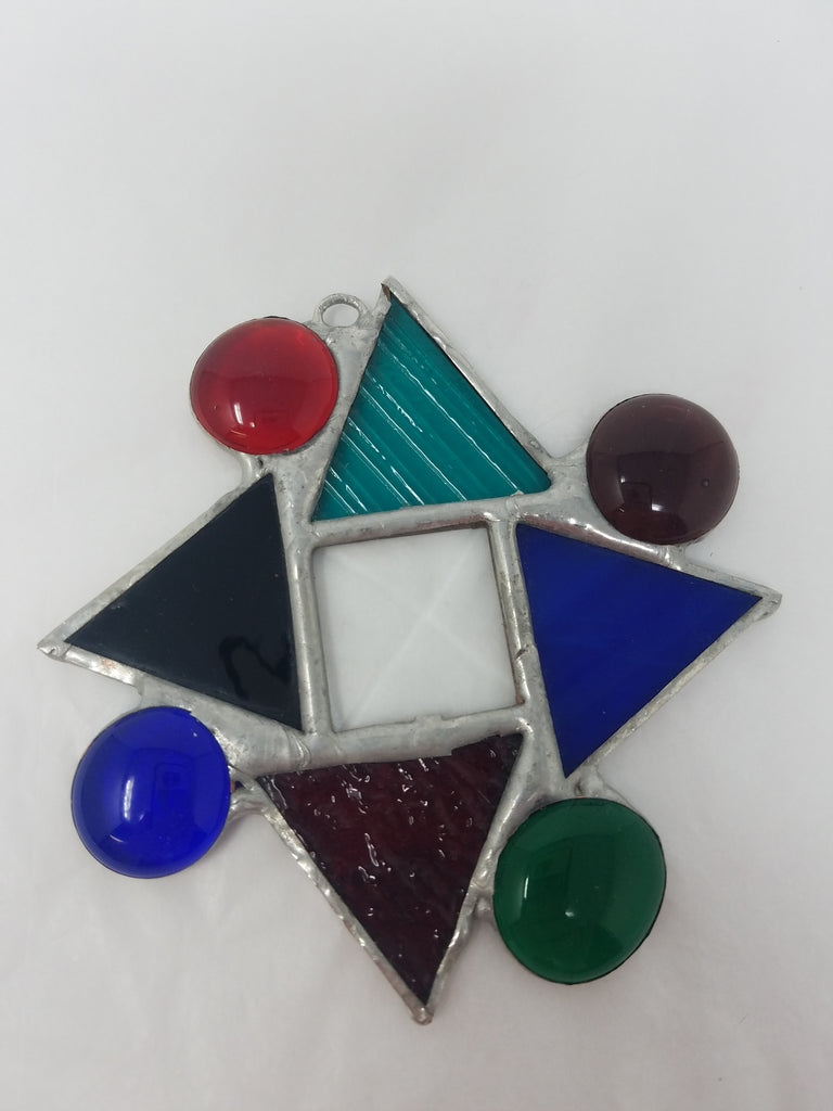 Geometric shape glass ornament