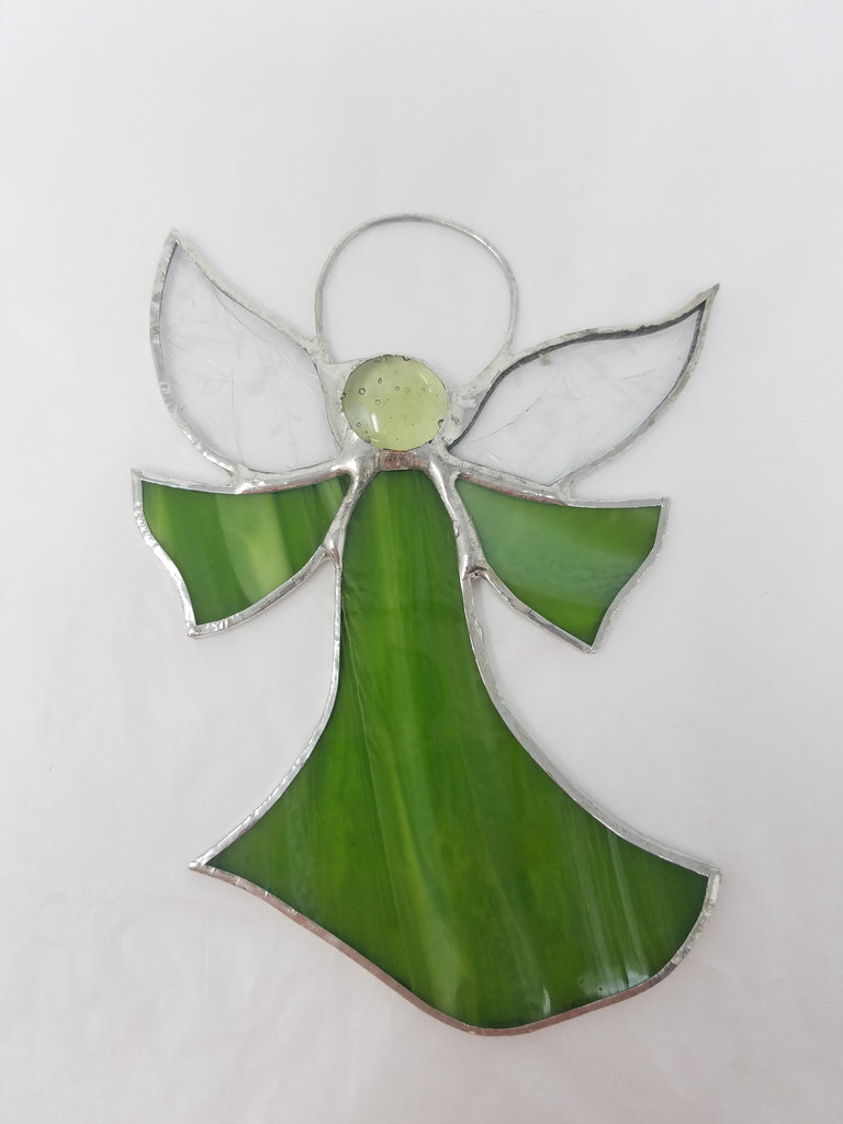 Flat angel glass ornament/suncatcher, light green