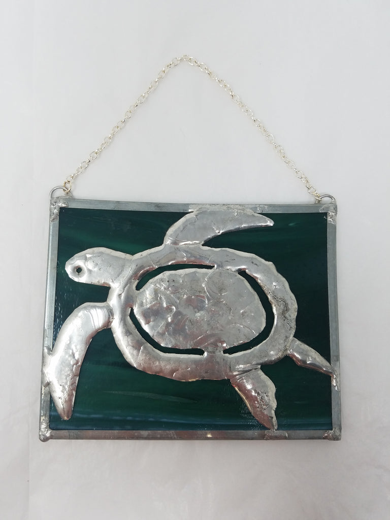Turtle stained glass panel