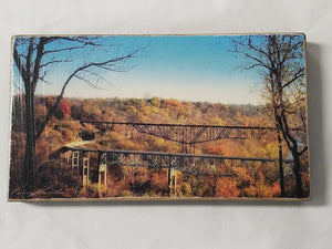 Lawrenceburg KY bridge photo print on wood with stand