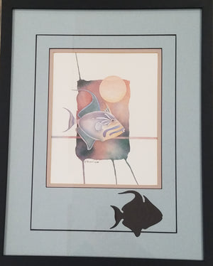 Tropical fish with sun framed art by P Brent