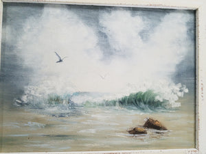 Ocean scene with gulls, framed painting by Mary Smith