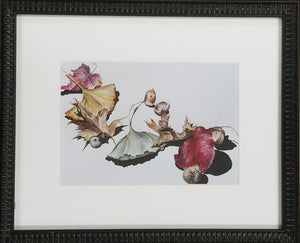 Framed art print of ginkgo leaves and acorns