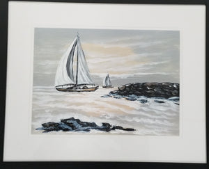 Framed original watercolor of sailboats on sea