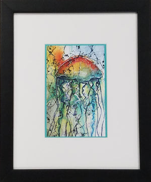Framed art print of colorful jellyfish