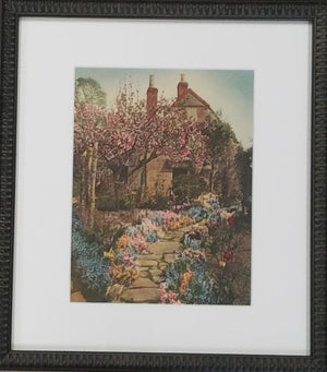 Cottage with garden framed art print