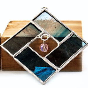 Stained glass beaded square BLUE