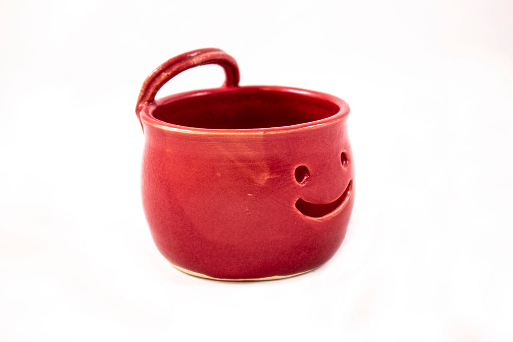 Egg separator, smiley, red, pottery