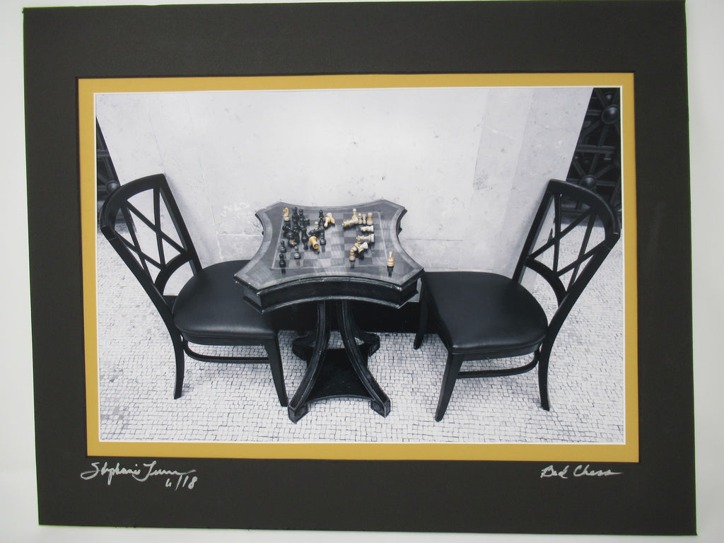 """Bad Chess"" black and white with yellow/white chess pcs, signed"