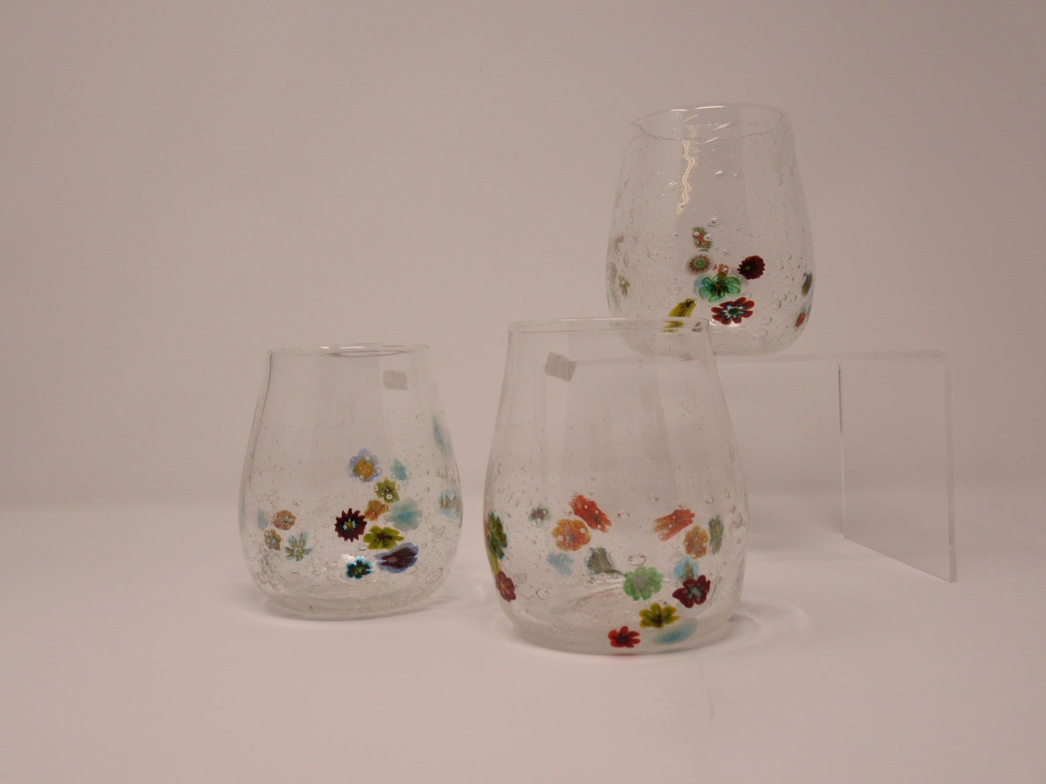Drinking glass, clear bubbles with multicolored flowers, SMALL mille fliora