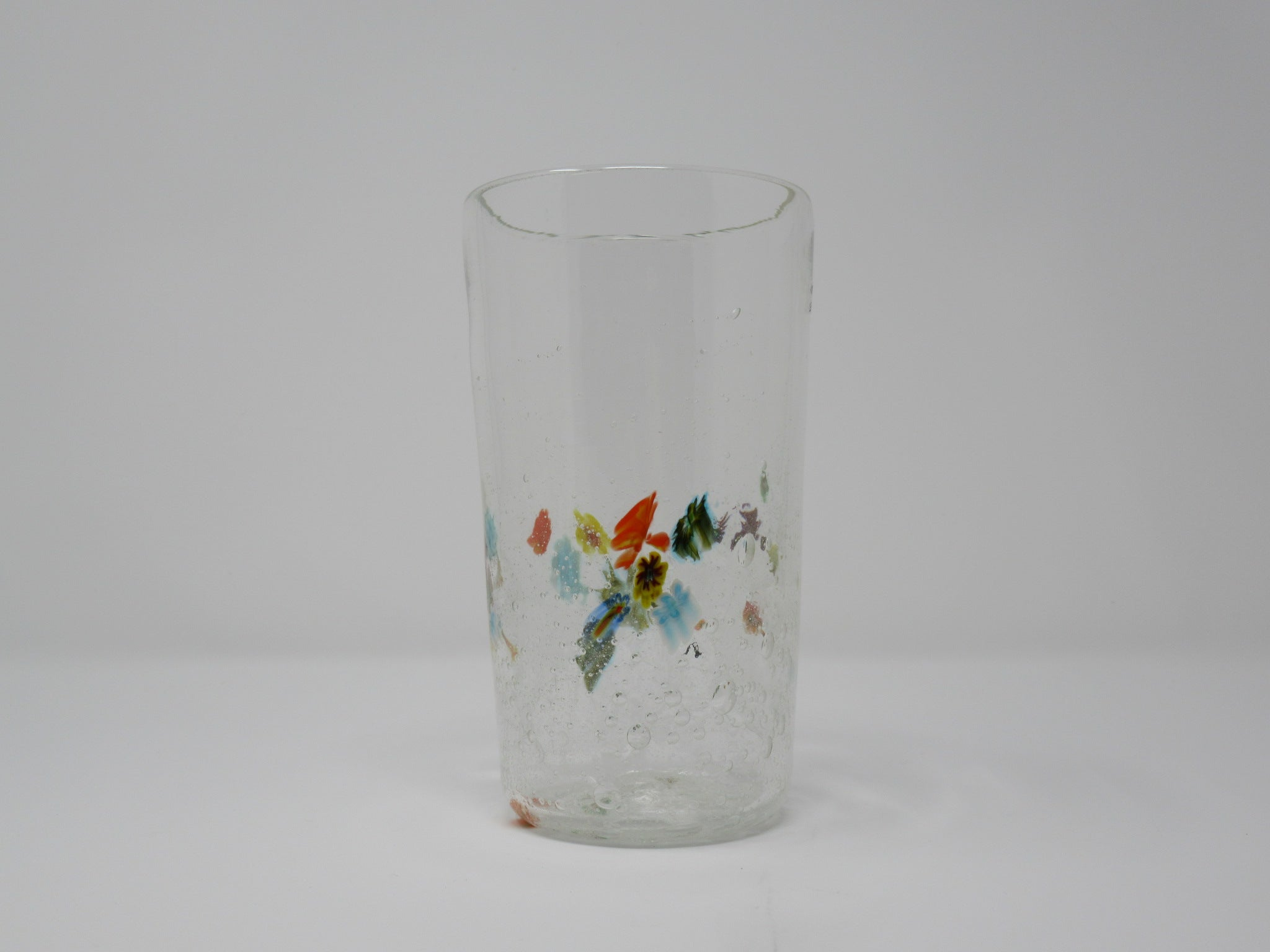 Drinking glass, clear bubbles with multicolored flowers, TALL mille fliora