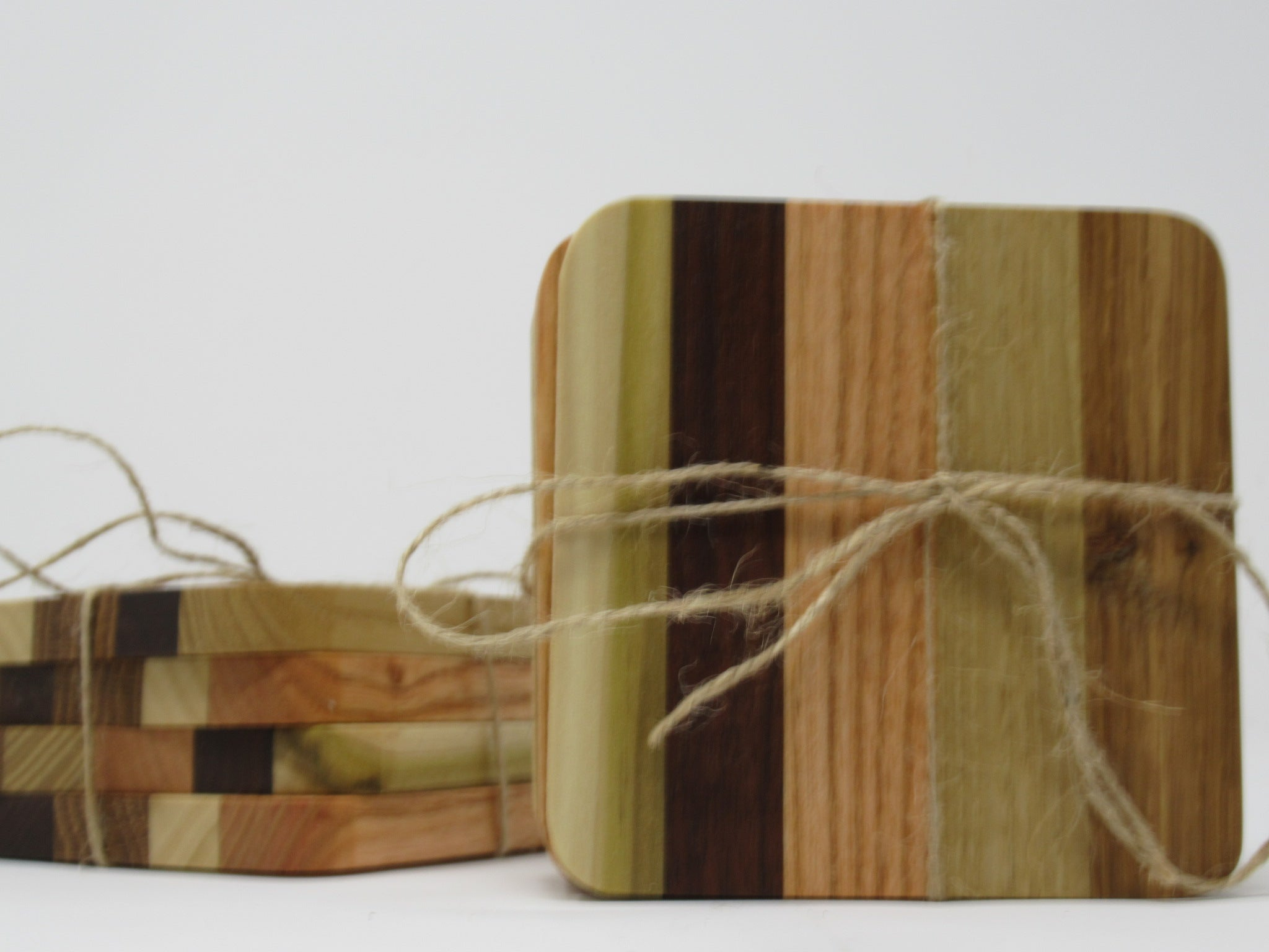 Handmade wooden coasters, mixed woods