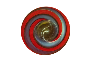 "Glass Plate Art by Chad Balster - ""Crimson Swirl"""