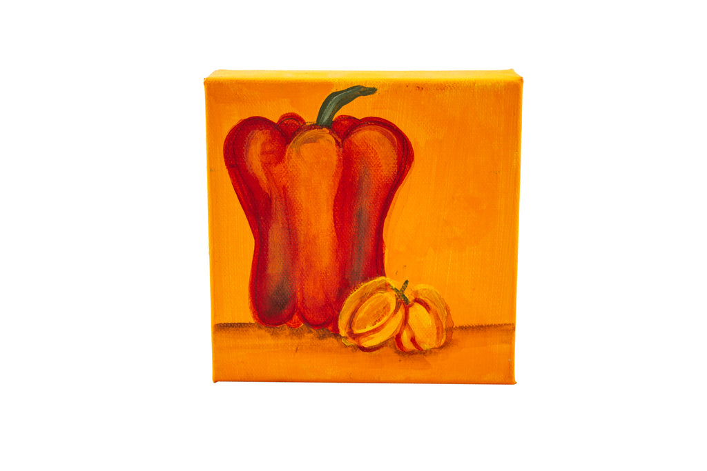 Orange pepper original painting on square canvas