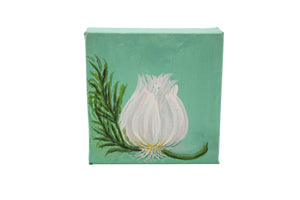 Garlic/rosemary original painting on square canvas