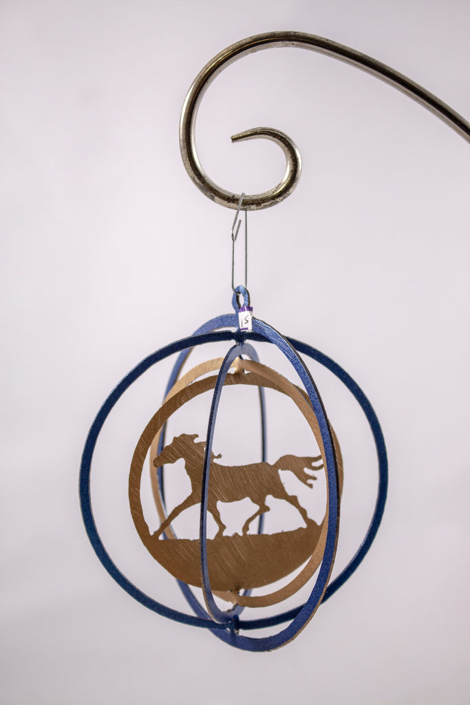 Metal ornament blue and gold horses