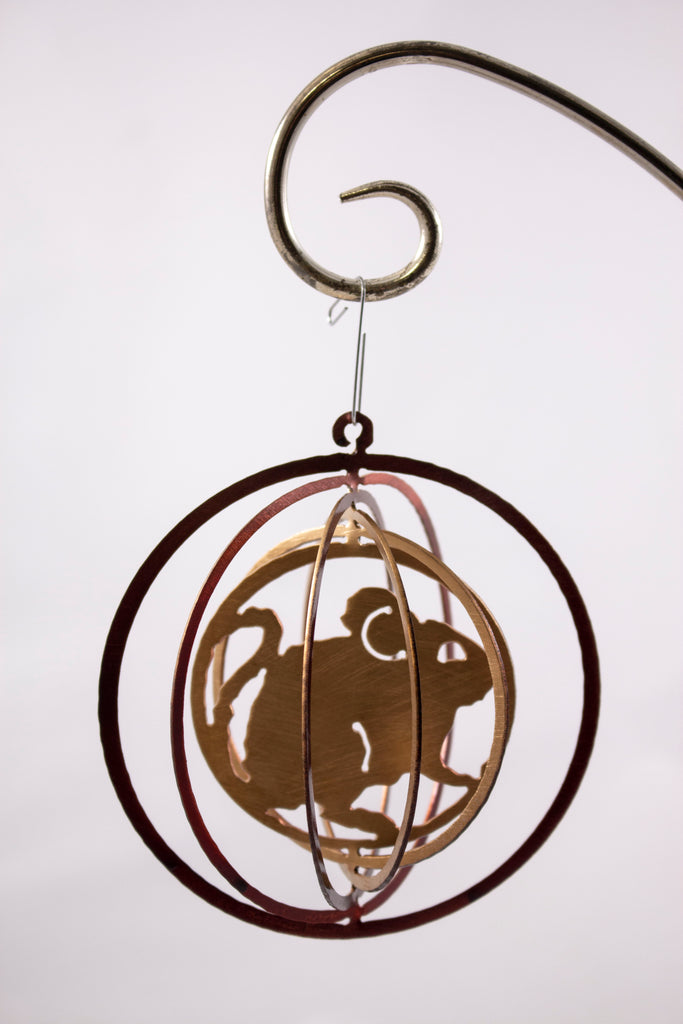 Metal ornament gold/red mice