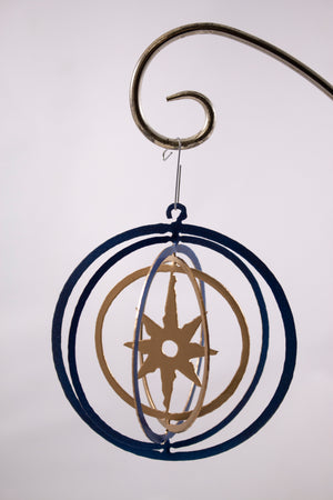 Metal ornament blue and gold star
