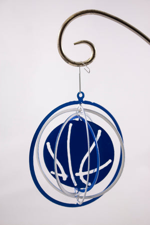 Metal ornament blue/white basketballs