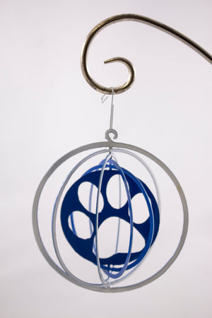 Metal ornament blue and white cats paws