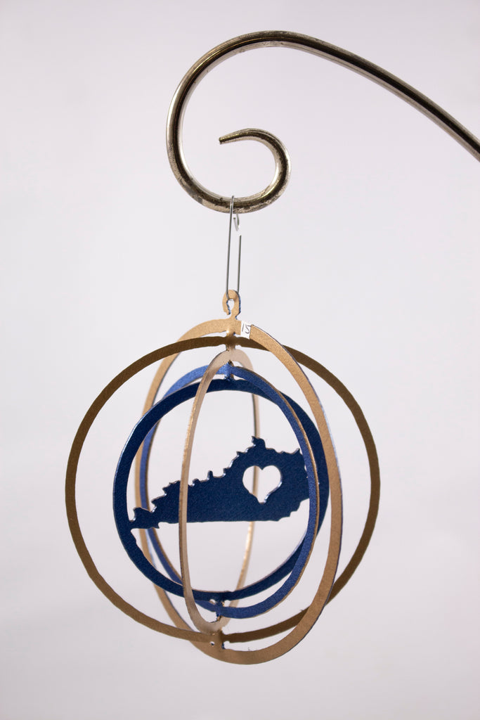 Metal ornament gold and blue KY with heart