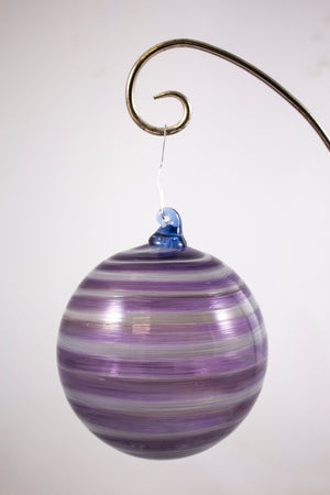 Large purple/white striped glass ornament