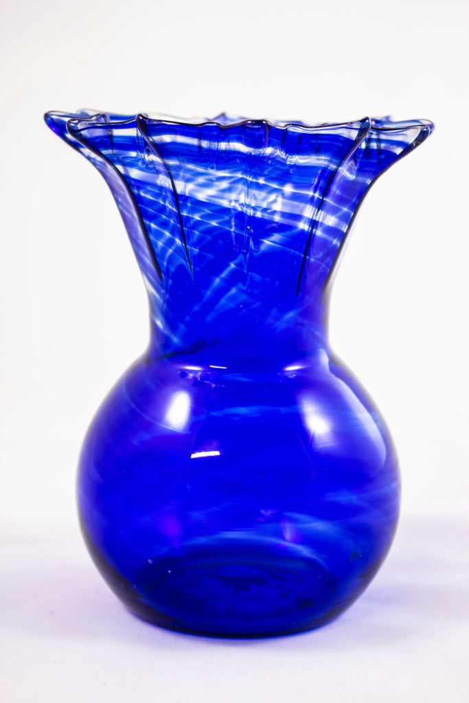 Vintage vase, blue with zigzag pattern at top