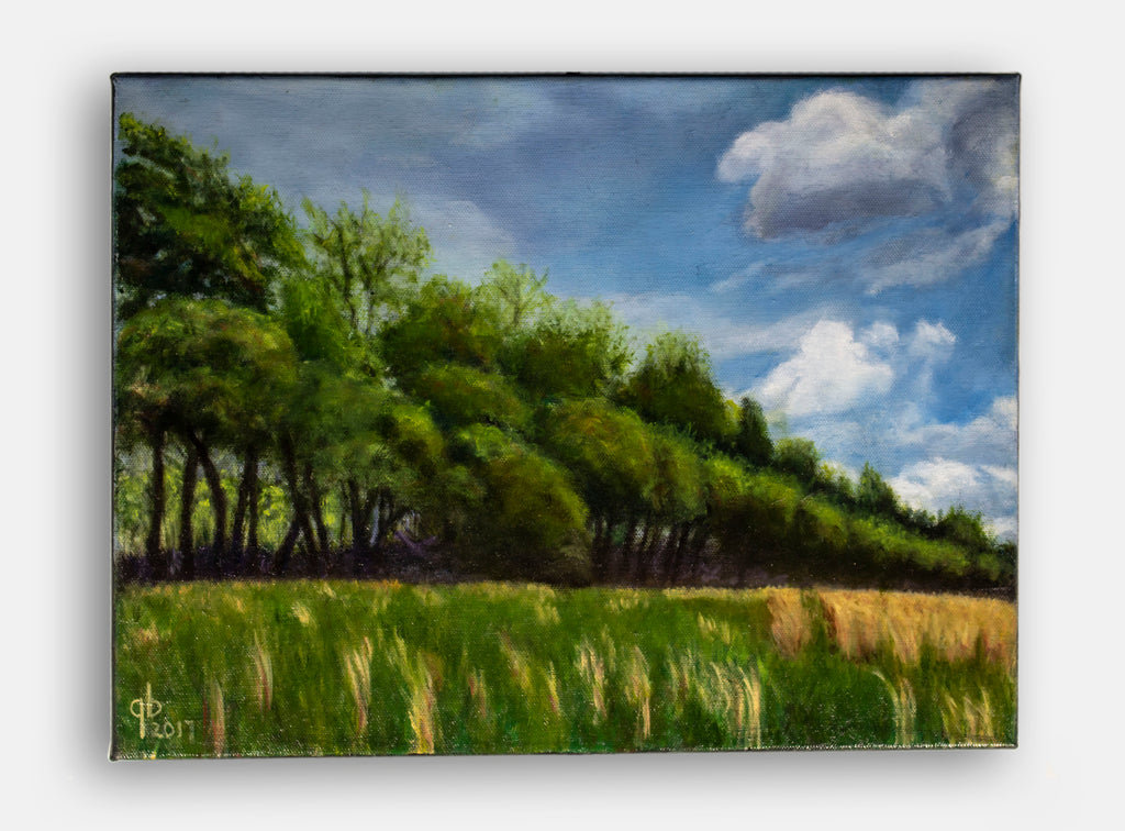 line of trees near a field original landscape painting