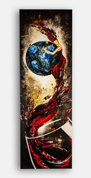 "Earth lady red wine giclee print ""Sweet Embrace"""