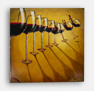 Giclee of line of tipping red wine glasses, reproduction canvas