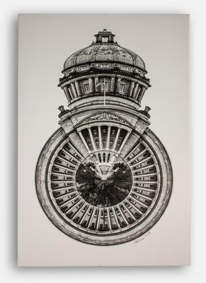 Black and white signed KY Capitol photo on canvas LARGE