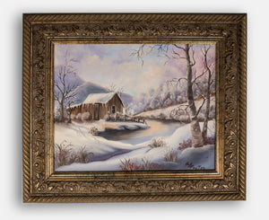 """Snowy Cabin Scene"" by Mary Lou Payton - Original Framed Painting"