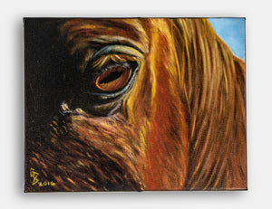 Kentucky Soul closeup original painting of horse's eye