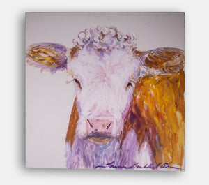 Cow canvas, large original painting, unframed