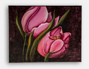 Pink tulips original canvas
