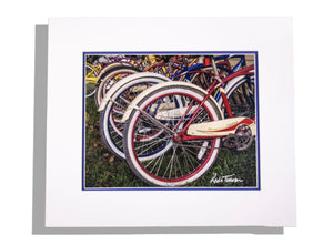 Color photo print of vintage bicycles