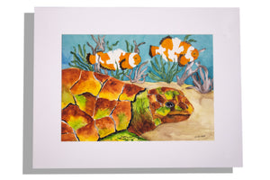 Dixie Helf original painting of sea turtle and clown fish, matted white