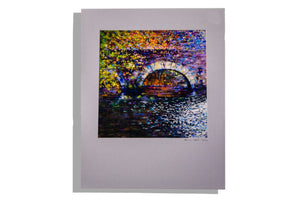 Stone tunnel with water and foliage print, signed 07/200
